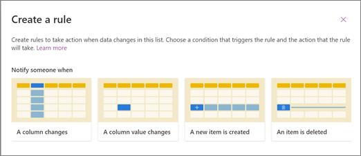 Zrzut ekranu przedstawiający wybieranie szablonu reguły powiadamiania o tym użytkownika