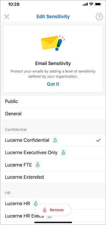 Zrzut ekranu przedstawiający etykiety wrażliwości w programie Outlook dla systemu iOS