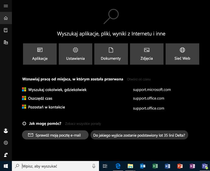 Wyszukiwanie w systemie Windows 10