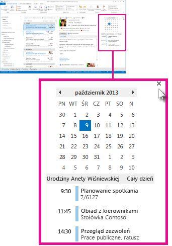 Przycisk usuwania wglądu na przypiętym wglądzie do Kalendarza