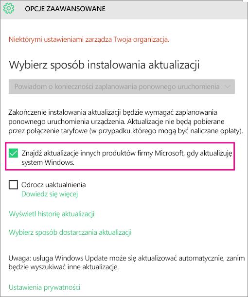 Opcje zaawansowane usługi Windows Update