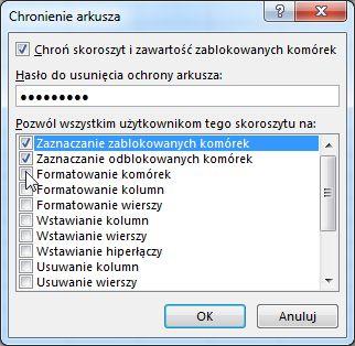 Okno dialogowe Chronienie arkusza