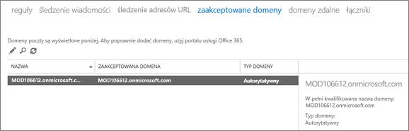 Zrzut ekranu przedstawiający stronę Zaakceptowane domeny w Centrum administracyjnym programu Exchange. Wyświetlone są informacje o nazwie, zaakceptowanej domenie i typie domeny.