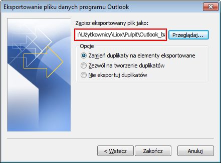 The save destination and file name are shown in the Export file name box.