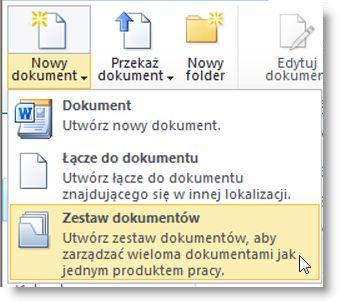 Polecenie Zestaw dokumentów w menu Nowy dokument
