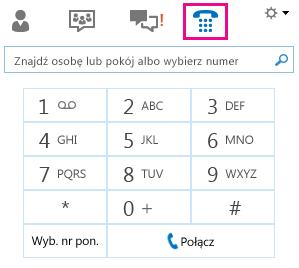 Zrzut ekranu: nawiązywanie połączenia z kontaktem przy użyciu konsoli wybierania numerów