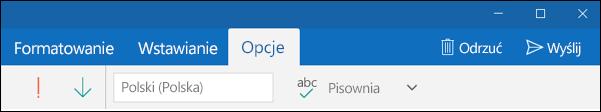 Karta Opcje w aplikacji Poczta programu Outlook