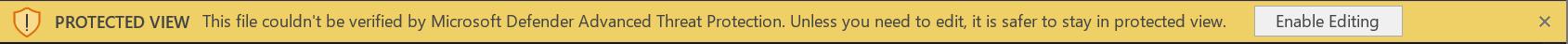 Zrzut ekranu przedstawiający pasek MDATP na pasku firm, jeśli podczas skanowania pliku wystąpił błąd
