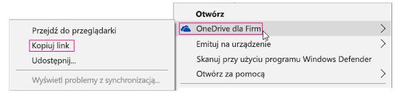 Usługa OneDrive dla Firm, kopiowanie linku