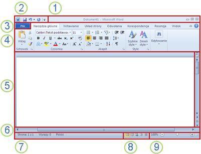Elementy okna programu Word