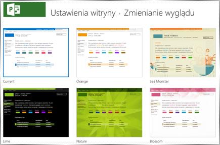 Zmienianie wyglądu menu z witryn projektów w usłudze Project Online.