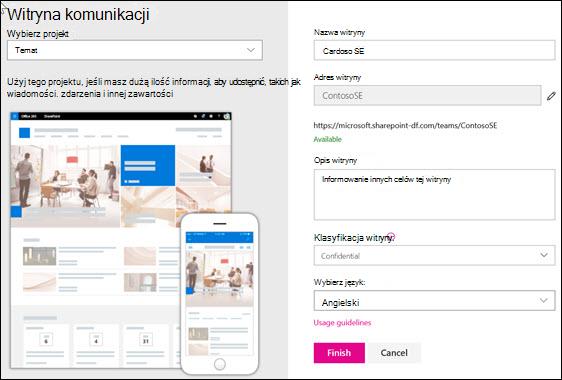 Tworzenie witryny do komunikacji programu SharePoint