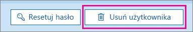 Usuwanie użytkownika w usłudze Office 365.