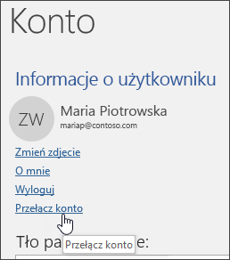 Zrzut ekranu przedstawiający sposób przełączania kont w obszarze Informacje o koncie