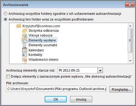 Okno dialogowe Archiwizowanie