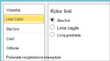 Wybieranie pozycji Brak linii dla koloru wiersza pola tekstowego