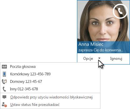 Zrzut ekranu: alert o połączeniu audio z obrazem kontaktu w górnym rogu
