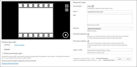 Strona właściwości wideo