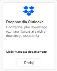 Zrzut ekranu przedstawiający kafelek dodatku Dropbox for Outlook dostępnego bezpłatnie.
