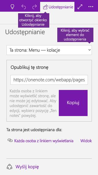 Zrzut ekranu przedstawiający udostępnianie jednej strony w programie OneNote