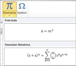 Wstępnie sformatowane równania na liście Równanie