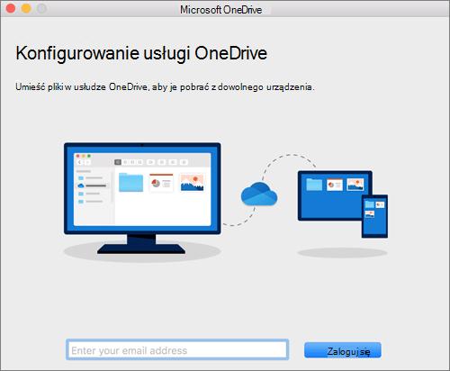 Zrzut ekranu przedstawiający pierwszą stronę konfiguracji usługi OneDrive