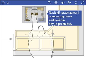 Naciśnij i przytrzymaj okno Kadrowanie, a następnie przeciągnij je po ekranie, aby je przenieść.
