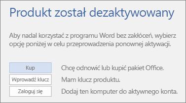 Zrzut ekranu przedstawiający komunikat o błędzie Produkt został dezaktywowany