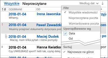 Dostępna lista filtrów do sortowania wiadomości