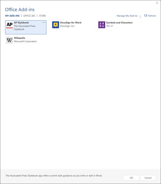 Zrzut ekranu przedstawiający karta Moje dodatki strony dodatków pakietu Office, miejsce, w którym są wyświetlane dodatków użytkownika. Wybierz dodatek, aby go uruchomić. Dostępne są także opcje umożliwiają zarządzanie Moje dodatki lub Odśwież.