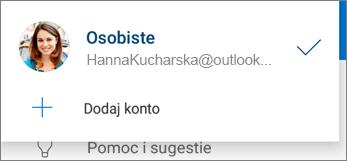 Przycisk Dodaj konto w aplikacji OneDrive dla systemu Android