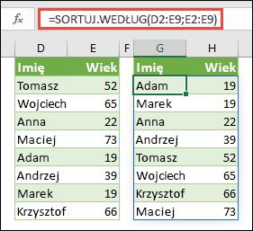 Użycie funkcji SORTUJ.WEDŁUG do sortowania zakresu. W tym przypadku użyto =SORTUJ.WEDŁUG(D2:E9;E2:E9) do posortowania listy nazwisk osób względem wieku, w kolejności rosnącej.