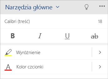 Zrzut ekranu przedstawiający menu formatowania tekstu w aplikacji Word Mobile.