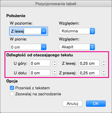 Ustaw odstęp między wybraną tabelą i tekstem podstawowym w obszarze Odległość od otaczającego tekstu.