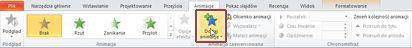 Karta Animacje z wyróżnioną pozycją Dodaj animację w programie PowerPoint 2010