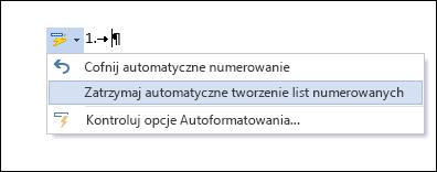 Opcje numerowania widoczne w oknie Autokorekty