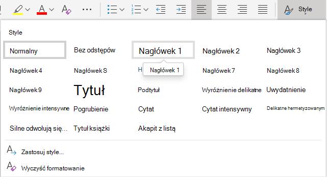 Menu stylów tekstu w aplikacji Word Online