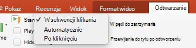 Opcje odtwarzania klipu wideo w programie PowerPoint