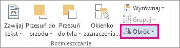Polecenie Obróć na karcie Narzędzia do rysowania > Formatowanie