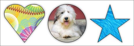 Zrzut ekranu przedstawiający kolaż w programie Publisher z obrazami o różnych kształtach