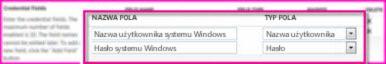 Zrzut ekranu sekcji Pola poświadczeń na stronie właściwości aplikacji docelowej bezpiecznego magazynu. Te pola umożliwiają określenie poświadczeń logowania dla lokalizacji docelowej