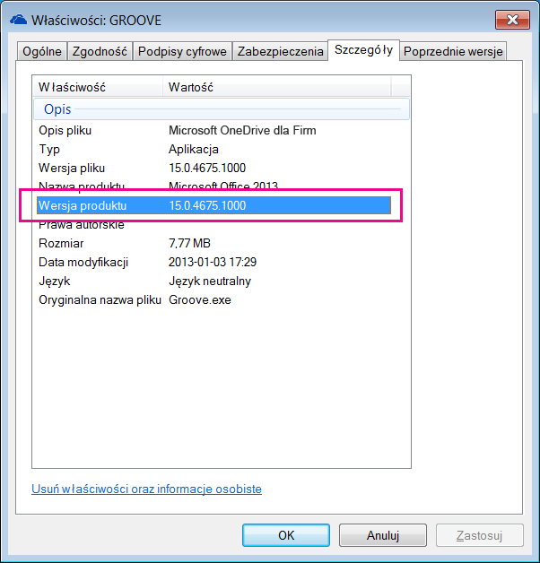 Okno dialogowe właściwości programu groove.exe zawierające wersję produktu aplikacji do synchronizacji usługi OneDrive dla Firm.