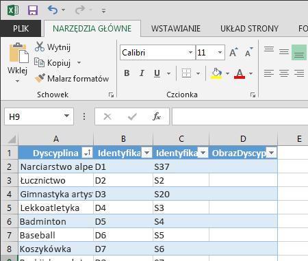 Rozszerzanie tabeli w programie Excel