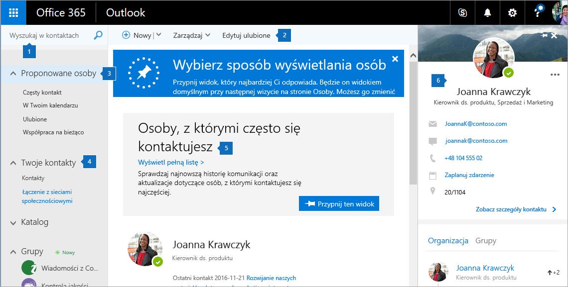 Zrzut ekranu przedstawiający stronę Kontakty.
