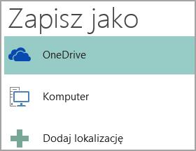 Zrzut ekranu przedstawiający opcję Zapisz jako w programie Publisher