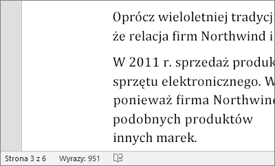 Statystyka wyrazów na pasku stanu dokumentu.