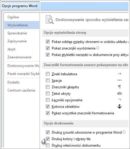 Pole wyboru Drukuj kolory i obrazy tła w oknie dialogowym Opcje programu Word