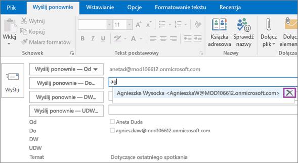 Zrzut ekranu przedstawiający opcję Wyślij ponownie dla wiadomości e-mail. W polu Wyślij ponownie — Do funkcja Autouzupełnianie podaje adres e-mail adresata na podstawie wpisanych pierwszych kilku liter nazwy adresata.