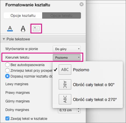 Kierunek tekstu wyróżniony w okienku Formatowanie kształtu.