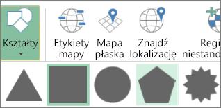 Opcja Kształty w dodatku Mapy 3-W